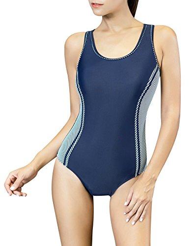 Uhnice Women's One Piece Swimsuits Racing Training Sports Athletic Swimwear (Small(US4-6), Navy/Stripe)