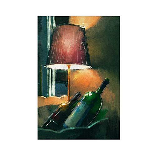 Pintar un par de botellas de vino y lámpara póster de lona para decoración de la pared de la sala de estar dormitorio decoración 16 × 24 pulgadas (40 × 60 cm) Unframe-style1