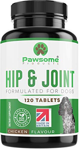 Pawsome Products Hip and Joint Supplement for Dogs with Glucosamine, Chondroitin, Green Lipped Mussel, MSM, Curcumin, Hyaluronic Acid, Manganese & Vitamin C - 120 Chicken Flavoured Chewable Tablets