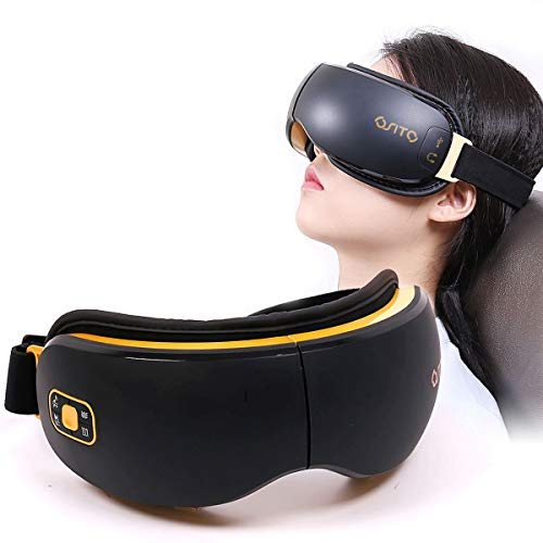 OSITO Rechargeable Eye Massager with Heat for Dry Eye with Vibration to Refresh Mind and Music Air Pressure for Fatigue Relief Improve Sleeping-PU.