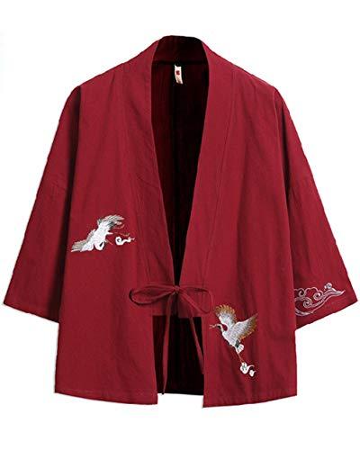 GUOCU Hombre Bordado Cloak Cárdigan Camisa Chaqueta de Kimono Japonesa Casual Vinorojo 5XL