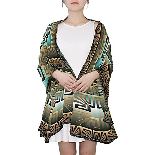 WJJSXKA Schals für Frauen Leichter Druck Blumenmuster Schal Schal Modeschals Sonnenschutzschals, Altgriechische Key Twists Turns Ornament