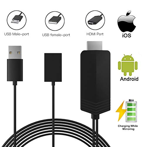 MHL to HDMI,DRLSS MHL to HDMI Cable Compatible with iPhone iPad Android Phones, 3.3ft 1080P HD Digital AV Adapter for iPhone XS/X/XR/8/7/6 Plus iPad Samsung Huawei Sony to TV/Monitor
