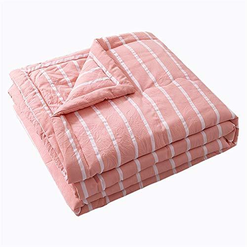 Colcha acolchada, reversible, colcha de cama, decoración de celosía, ultra suave, acolchado (rayas rosas, 150 x 200 cm)