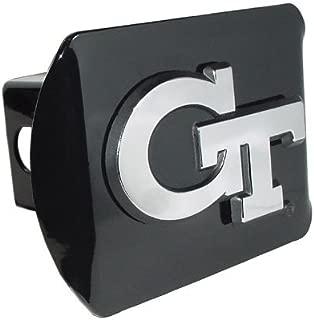 Elektroplate Georgia Tech Yellow Jackets Black Metal Trailer Hitch Cover Chrome Metal with NCAA Logo Fits 2