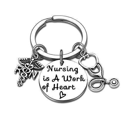 Nurse Gifts for Women Nursing Jewelry RN Nurse Keychain Thank You Gifts Nurse Appreciation Gift for Birthday Graduation Christmas (Nursing is A Work of Heart)