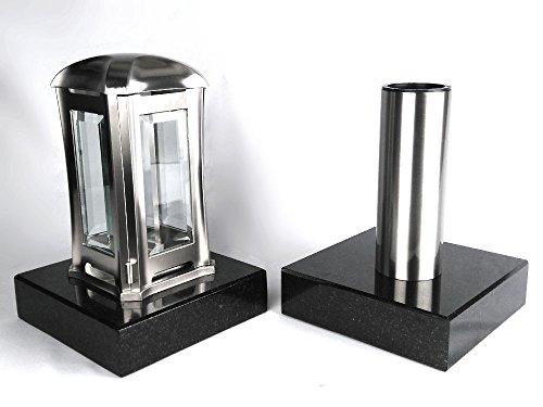 designgrab Grablampe Venezia und Grabvase Tube aus Edelstahl mit 2 Stück Granitsockel in Schwedisch Black SS1