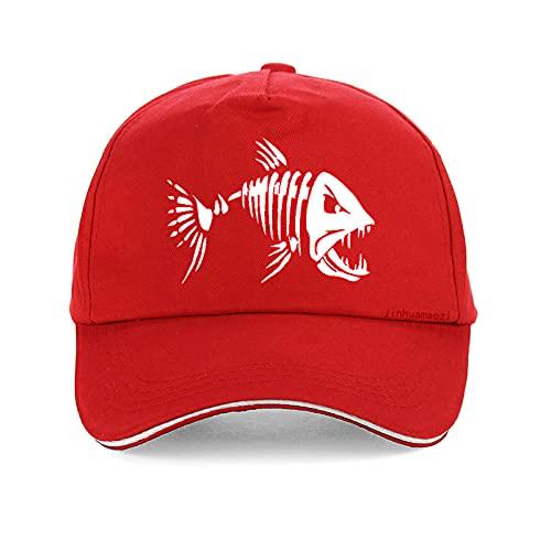 YDXC Gorras para Hombre Gorra al Aire Libre béisbol de Caza Sombrero de Golf con Aleta de Hueso de Pescado de Dibujos Animados se aplican a la Pesca de Correr etc -Rouge