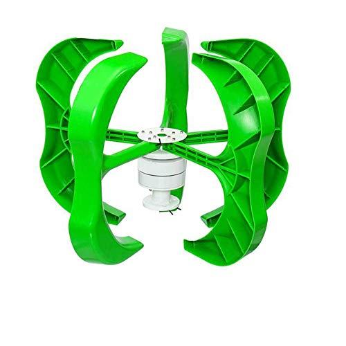 SEESEE.U Windkraftanlage 400 W DC 24 V Windkraftanlagen-Generator-Kit, 5 Flügel, vertikale Laterne mit Laderegler zur Leistungsergänzung (400 W 24 V)