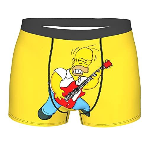 Simpson Homer Herren Slip für Herren Boxershorts Unterwäsche Stretch New Boxer Unterhose Atmungsaktiv Bequem, Schwarz , S