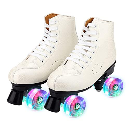 GGOODD 4 Ruedas Patines de Ruedas Zapatos con Ruedas Automática De Skate Zapatillas Patines de Dos Hileras Zapatos De Patinaje con Rueda con Rueda de Flash de Luz LED Unisexo