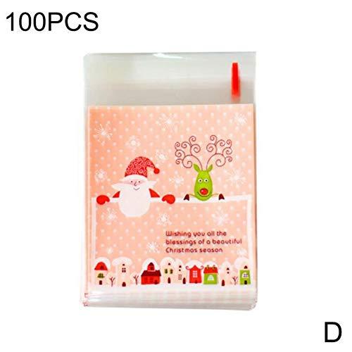 WSJKHY 100 stuks Kerstmis Cookie Candy pakket zelfklevende zakken geschenken tas verpakking bakken verzorging Kerstmis Home Party Decoratie D
