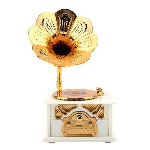 Caja de música en forma de fonógrafo con manivela retro, caja de música clásica en cuerno de trompeta de oro