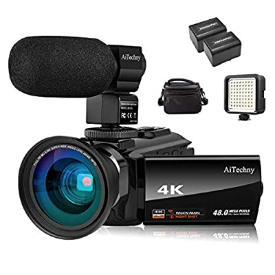 "Video Camera 4K Camcorder Vlogging Camera for YouTube AiTechny Ultra HD 48MP Digital WiFi Camera 3.0"" IPS Touch Screen IR Night Vision 16X Digital Zoom Recorder with Microphone, Wide Angle Lens by AiTechny"