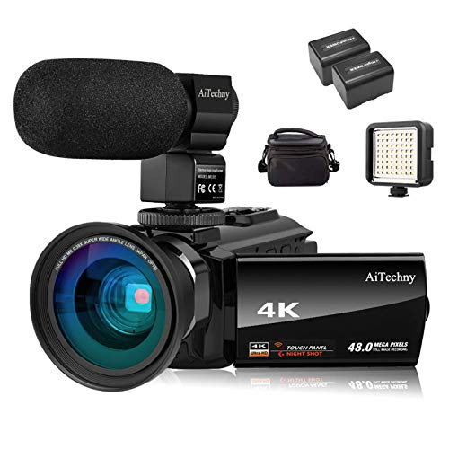 """Video Camera 4K Camcorder AiTechny Ultra HD Digital WiFi Camera 48MP 16X Digital Zoom Recorder IR Night Vision 3.0"""" IPS Touch Screen with Microphone, Wide Angle Lens, LED Video Light, 2 Batteries"""