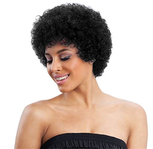"""ALICE Afro Wig 4"""" Short Kinky Curly Jet Black Human Hair Wig"""