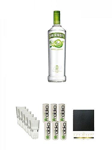 Smirnoff Vodka Green Apple 0,70 Liter + Smirnoff Gläser 6 Stück + Moloko Softdrink 6 x 0,25 Liter + Schiefer Glasuntersetzer eckig ca. 9,5 cm Durchmesser