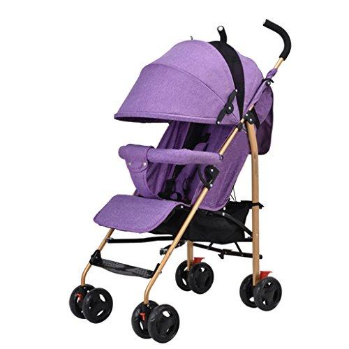 2 en 1 poussette pliante poussette de voyage bébé poussette jogger de voyage poussette pour enfant - couleurs différentes (Color : Purple)
