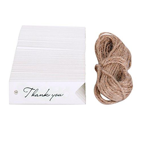 WOLFTEETH Etichetta da regalo 100 pz bigliettino carta kraft Targhette per bomboniere confetti Matrimonio Segnalibri – Thank you, bianca