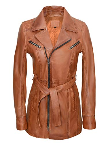Blueorn Elin Ledermantel Damen Echt Ledermantel Frauen Cognac (3XL)