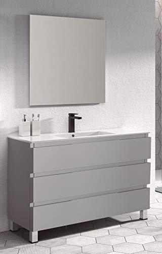 Juego de Mueble de Baño Modelo Austria Porcelana, Conjunto formado por Mueble de Baño Lacado en Gris Ancho 100cm, Lavabo de Porcelana y Espejo a Juego