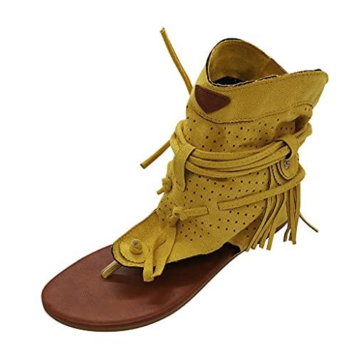 Geilisungren Frauen Sandalen Sommer Offene Schuhe Zehentrenner Rom Damen Freizeit Schnallenriemen Flache Sandals Party Sommerschuhe Strandsandalen
