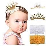 Mom & Beauty - Set di fasce per capelli, per bambina, con fiocco da 3 mesi a 2 anni oro Taglia unica