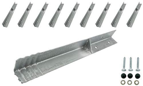 HOQ 10 x Sicherheits-Winkelanker 45x45x500mm Bodenanker Schaukelanker Spielturm Erdanker für Spieltürme, Schaukeln, etc.