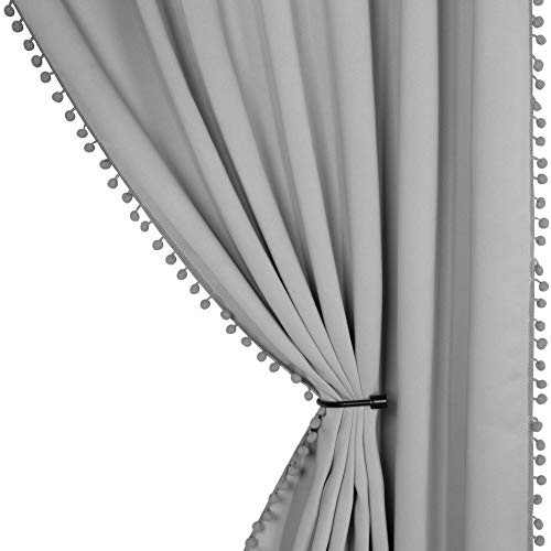 LORDTEX Pom Pom Blackout Curtains for Bedroom - Thermal Insulated Curtains, Sun Light Blocking Rod/Pole Pocket Window Drapes for Living Room, 52 x 84 inch, Silver Grey, Set of 2 Panels