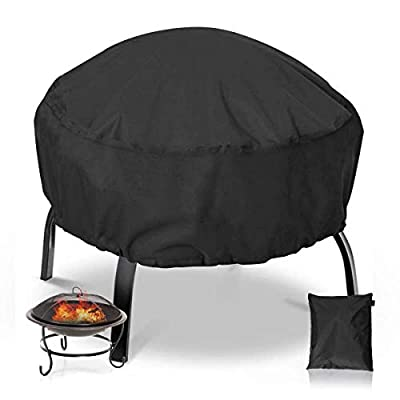 NASUM Fire Pit Cover Round 38x38 Inch Waterproof 420D Heavy Duty Round Patio Fire Bowl Cover Round Firepit Cover with Thick PVC Coating - Black