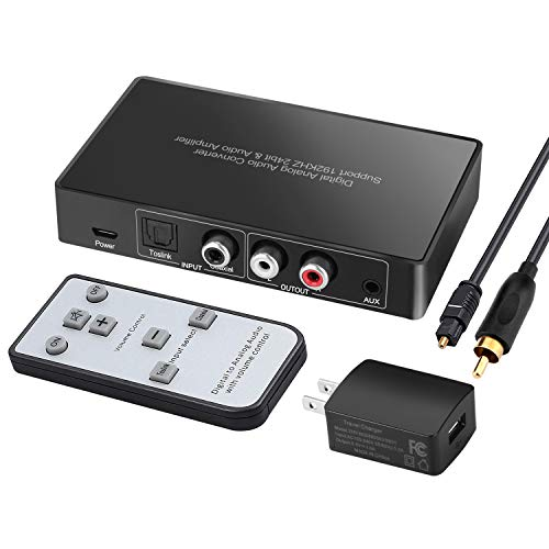Digital to Analog Audio Converter with Remote, 192KHz/24bit Digital Coaxial Toslink to Analog L/R RCA 3.5mm Audio with Both Toslink Cable and Coaxial Cable
