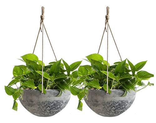 Macetas Colgantes - 25 CM Macetas para Plantas de Interior y Exterior, Maceta con Agujeros de Drenaje, patrón de mármol, Set de 2