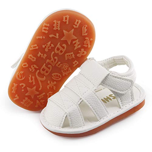 SOFMUO Baby Boys Girls Squeaky Sandals Non-Slip Soft Rubber Sole Closed Toe Infant Summer Outdoor Shoes Toddler First Walkers(A/White,15)