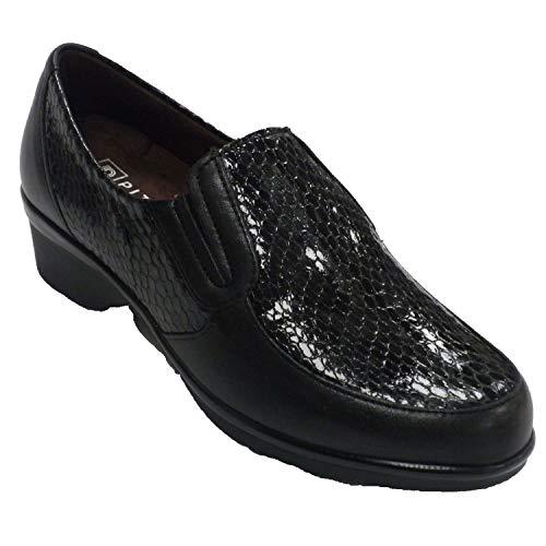 Zapatos Mujer Descanso Piel y Charol Serpiente Pitillos en Negro Talla 38