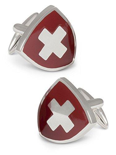 ZAUNICK Schweizer Wappen Manschettenknöpfe Silber 925 handgefertigt