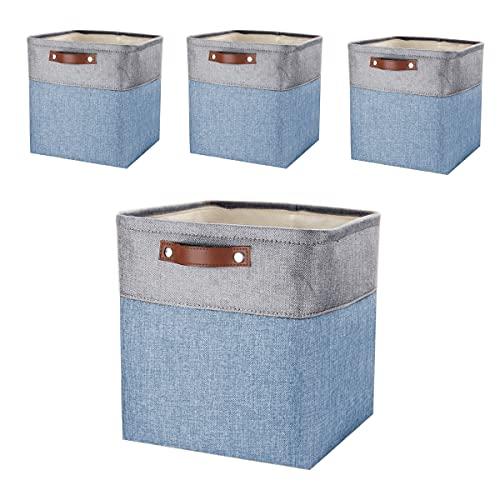 Mangata Stoff Aufbewahrungsbox, Cube Aufbewahrungskorb , 3er-Set (Blau/Grau, 4er pack)