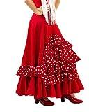 Falda de Mujer para Danza Flamenco o sevillanas. Made IN Spain (Rojo, XL)