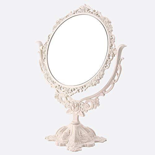 Domeilleur - Espejo de escritorio giratorio para maquillaje, estilo vintage, con espejo gótico, diseño de mariposa y rosa