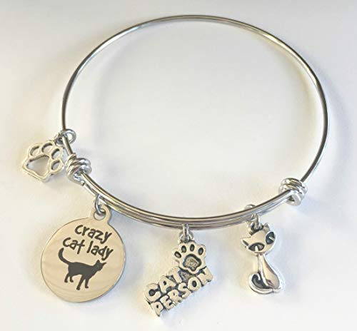 Crazy Cat Lady Charm Bracelet for Cat Lovers - Kitty Mom Jewelry - You Choose Cat Charm