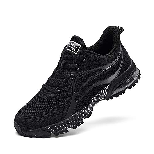 Lamincoa Women's Air Cushion Sneakers Running Shoes Breathable Mesh Anti Slip Athletic Tennis Shoes for Outdoor Jogging Black 7