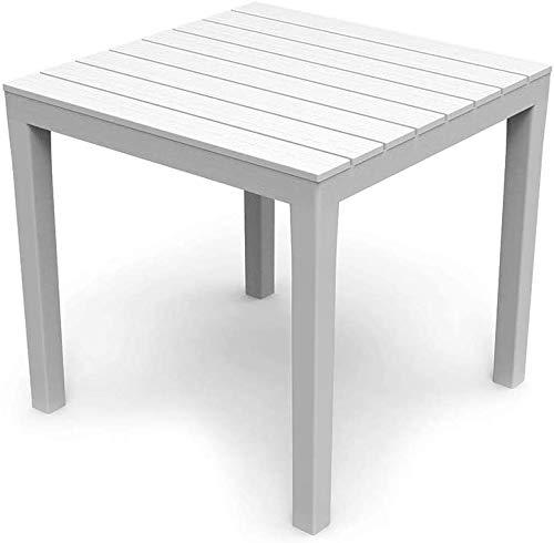 Tomaino Tavolo da Giardino Quadrato in plastica Effetto Legno 78 x 78 x 72h cm (Bianco)