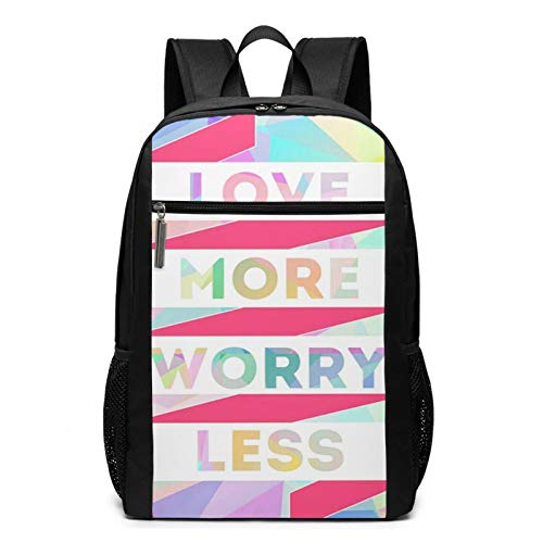 School Backpack Fun Love More Worry Less, College Book Bag Business Travel Daypack Casual Rucksack for Men Women Teenagers Girl Boy