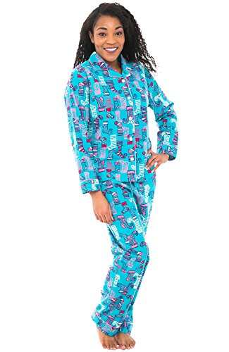 Alexander Del Rossa Women's Warm Flannel Pajama Set, Long Button Down Cotton Pjs, Large Christmas Elf Stockings Blue and Pink (A0509Q56LG)