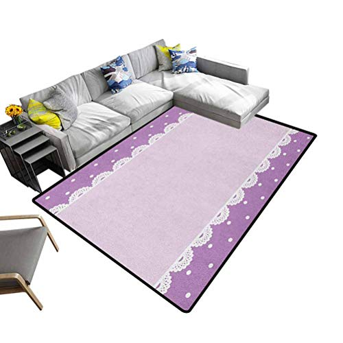 Mauve Area Rug Old Fashioned Ornate Lace Pattern with Classical Polka Dots Background Image Playmat Rug Lilac Lavender (5'x7')