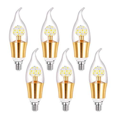LED Candelabra Bulb, 12W LED Corn Candle Bulbs, E14 Candelabra Base, 360° Beam Angle A220V Three-Color Dimming Energy Saving Bulb, 6 Pack