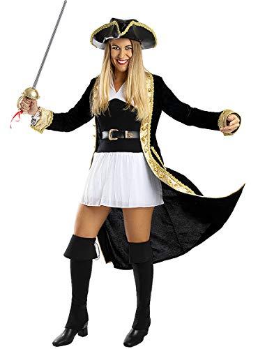 Funidelia | Disfraz de Pirata Deluxe - Coleccin Colonial para Mujer Talla XL Corsario, Bucanero - Color: Negro - Divertidos Disfraces y complementos