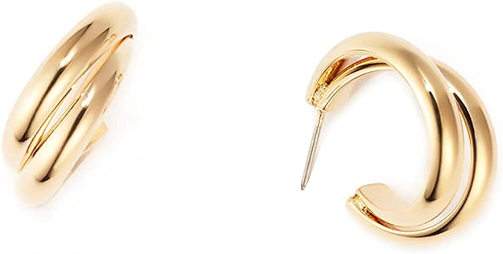 BIJOUX Gold Plated Brass Lightweight Fashion Double Strand Hoop Earrings for Women and Girls