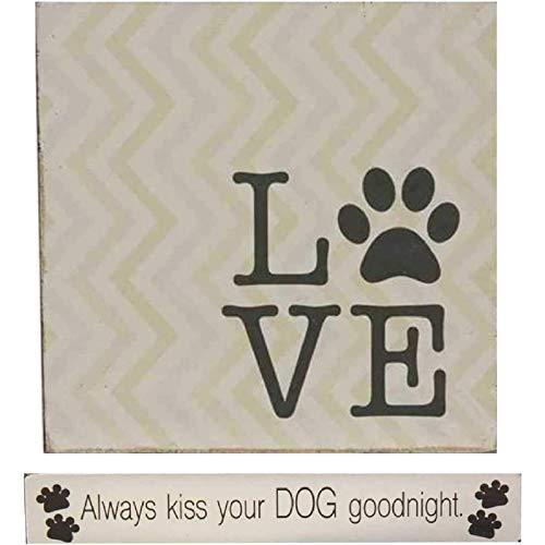2 Holz-Hundeschilder mit Sprüchen | Hunde-Deko für Schreibtisch, Zuhause, Doggy Kita, Pet Boarding | 1 Holzblock, 1 Mini-Stick-Set.