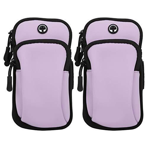 Demeras Bolsa de brazo suave y transpirable para guardar el teléfono móvil, funda duradera para correr, caminar, senderismo para teléfono celular (lavanda)