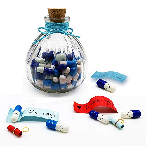 Blue Capsule Letters Message in a Bottle Glass Favor Wish Bottle With Cork in Half Color Pill for Valentines Day Birthday Party Gift by Baryuefull